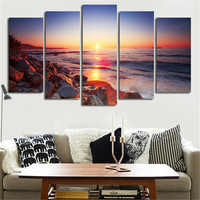 5 Piece Modern Wall Art Canvas Stone Is Land Tableau Print Painting Decorative Picture For Home