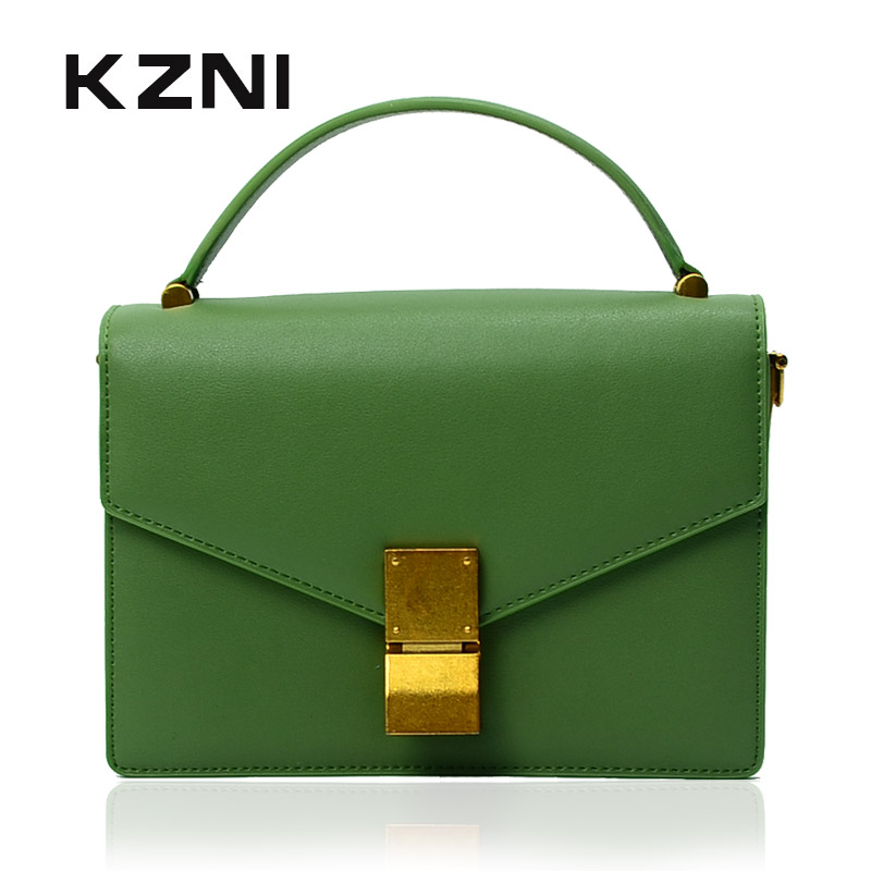 KZNI Real Leather Women Messenger Bags Female Crossbody Shoulder Top-handle Classic Flap Bag Cowhide Leather Bolsos Mujer 9008 retro leather women messenger bags small female shoulder bags luxury top handle bag leisure mini leather bolsos flap stb002