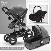 Горячие Дешевые 3 в 1 Детские коляски высокого пейзаж может сидеть лежащего складной новорожденных двусторонней шок ребенка толчок алюмини