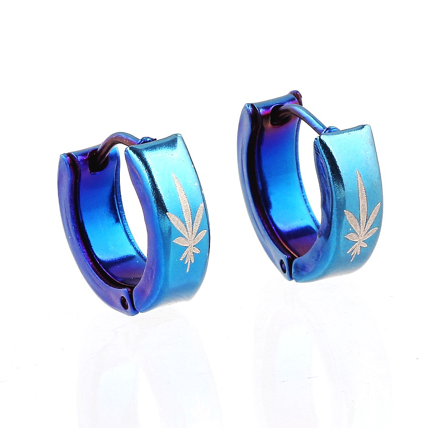 QianBei Fashion Fantastic Top Quality Blue color Stainless Steel Studs Hoop Mens womens leaves Earrings NEW