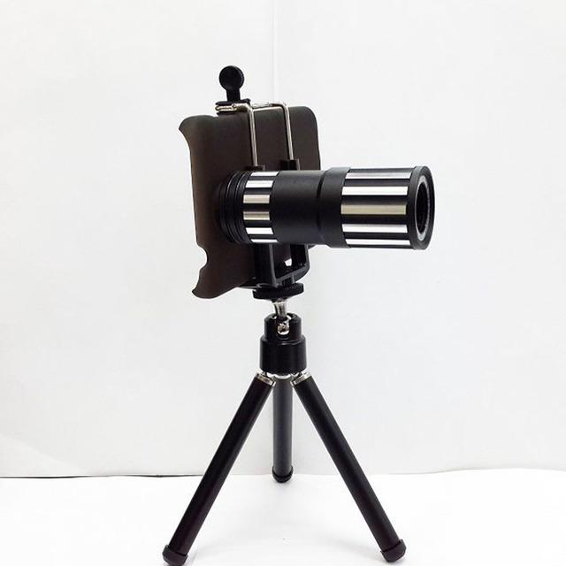 Universal Metal 12X Zoom Telefoto Lente Da Câmera Do Telefone Móvel Kit com clipe tripé e caixa do telefone para samsung galaxy s5 note 3 4