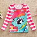 5 pçs/lote! 2015 novo estilo elegante e confortável lindo My Little-Pony padrão 100% algodão meninas longo-sleeved t camisas PD1120