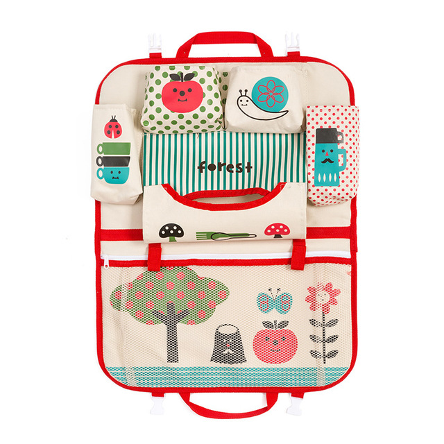 Portable Foldable Car Cartoon Backseat Storage Bag Travel Kids Child Toys Organizer Mother Baby Care Interior Seat Protector