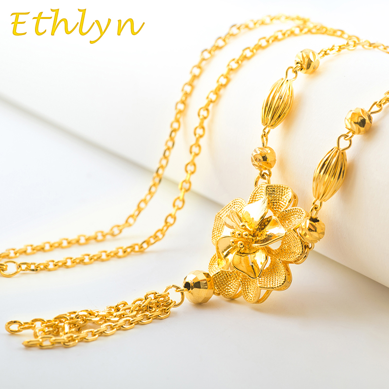 Ethlyn Korean style sweater chain Gold Color Romantic Flower women costume jewelry Chain length 60cm Christmas gift S001