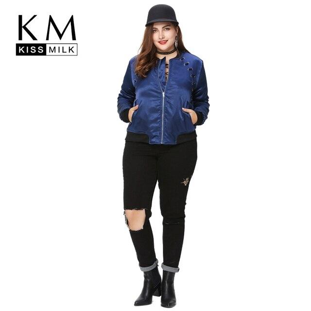 Kissmilk Плюс Размер Новая Мода Женская Одежда Основной Уличной Связаны футболки С Длинным Рукавом Большой Размер Стадион Куртка 3XL 4XL 5XL 6XL