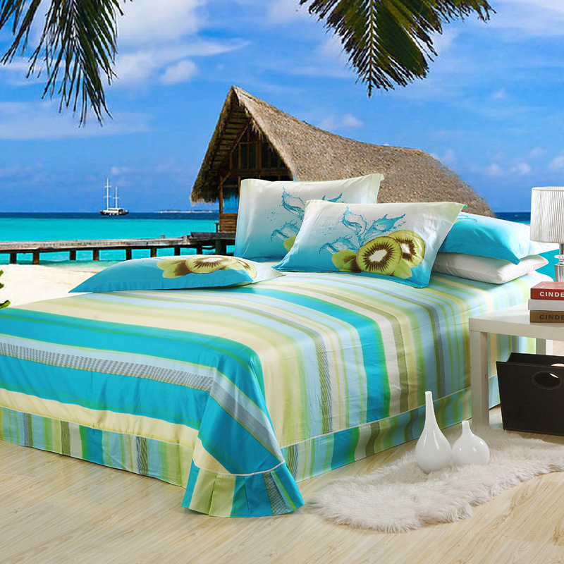 Новый летний киви печати Постельное белье 3D кровать постельное белье, простыня комплект постельное белье, королева Размер 4 штук набор пост... - 5