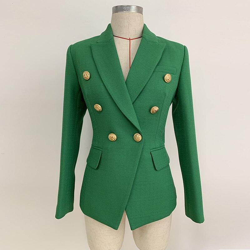 HIGH STREET 2019 Stylish Designer Blazer Women s Double Breasted Lion Buttons Slim Fitting Blazer Jacket