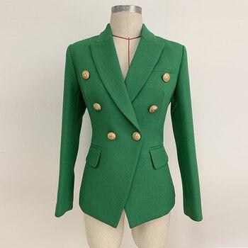 HIGH STREET 2021 Stylish Designer Blazer Women's Double Breasted Lion Buttons Slim Fitting Blazer Jacket Olive Green 1