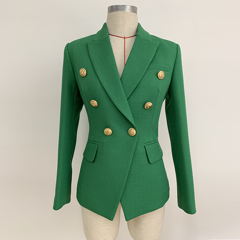 HIGH STREET 2020 Stylish Designer Blazer Women's Double Breasted Lion Buttons Slim Fitting Blazer Jacket Olive Green