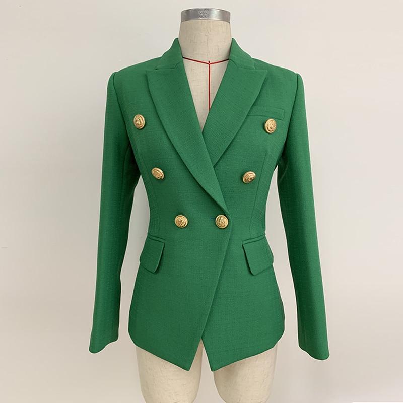 HIGH STREET 2020 Stylish Designer Blazer Women's Double Breasted Lion Buttons Slim Fitting Blazer Jacket Olive Green
