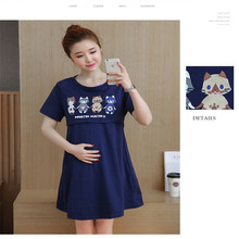 2017 New Cotton Maternity outfit Fashion Print Maternity Dress Clothing Breastfeeding Nursing Dress Summer