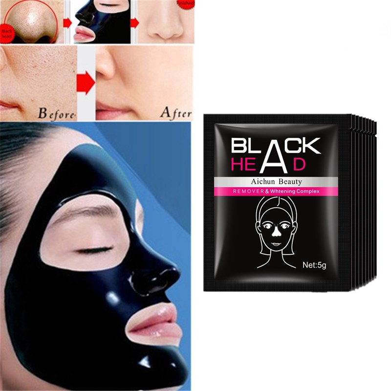 Aichun Beauty Black Mask Deep Cleansing Face Mask Tearing Style Resist Oily Skin Strawberry Nose Acne Remov Black Head Mud Mask