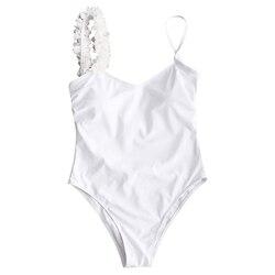 ZAFUL kobiety niski powrót jednoczęściowy strój kąpielowy Stereo kwiat wyściełane jednoczęściowy strój kąpielowy Sexy Low Back pasek stałe SwimmingSuit kostiumy kąpielowe 5