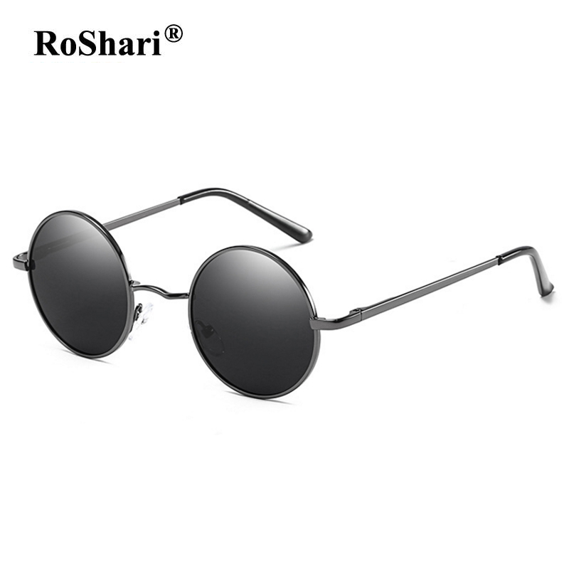RoShari Vintage Steampunk polarized sunglasses women brand designer men sunglass Round Sun glasses men gafas de sol mujer 801