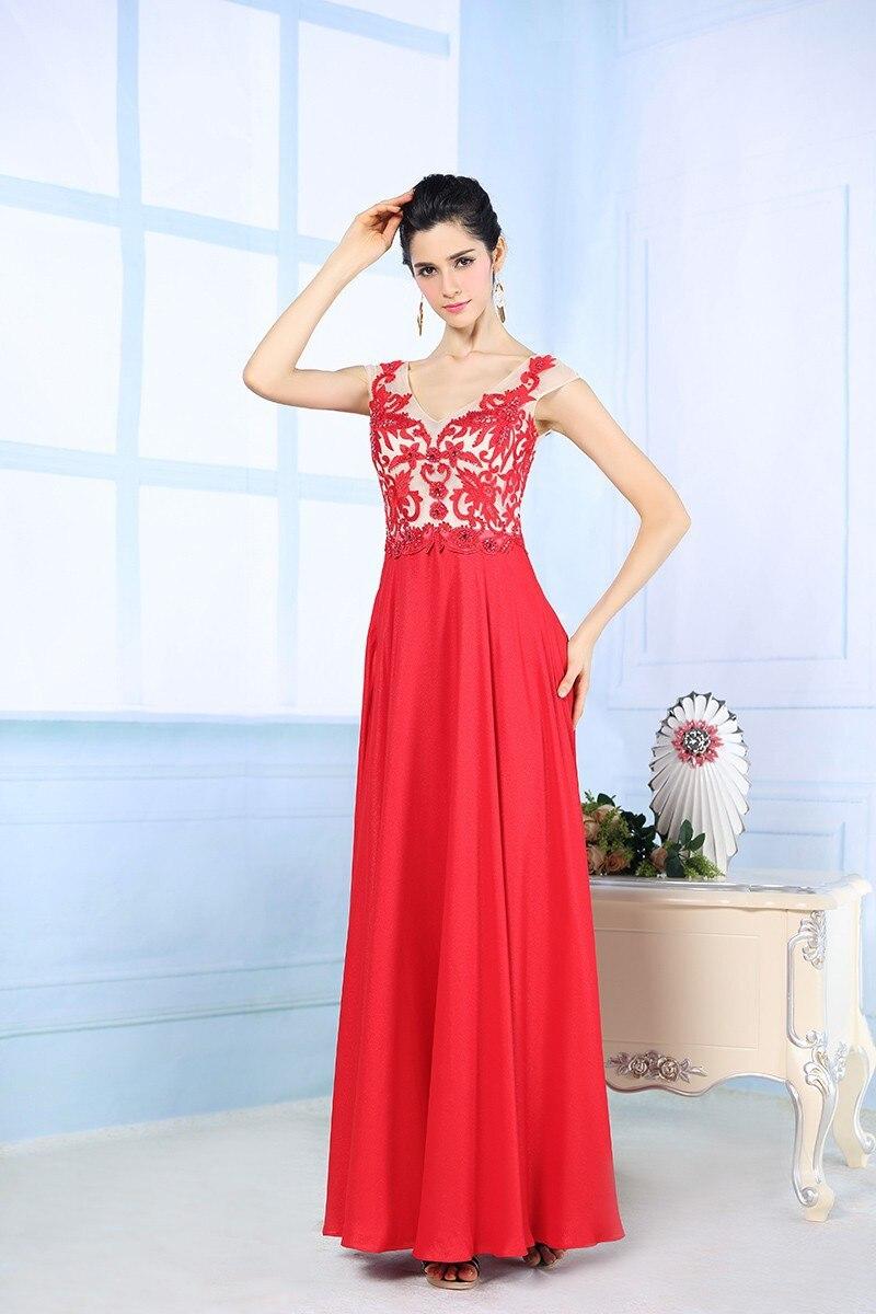 Новые модные шифоновые платья трапециевидной формы с v-образным вырезом и бисером красного цвета для выпускного вечера Vestidos De Festa