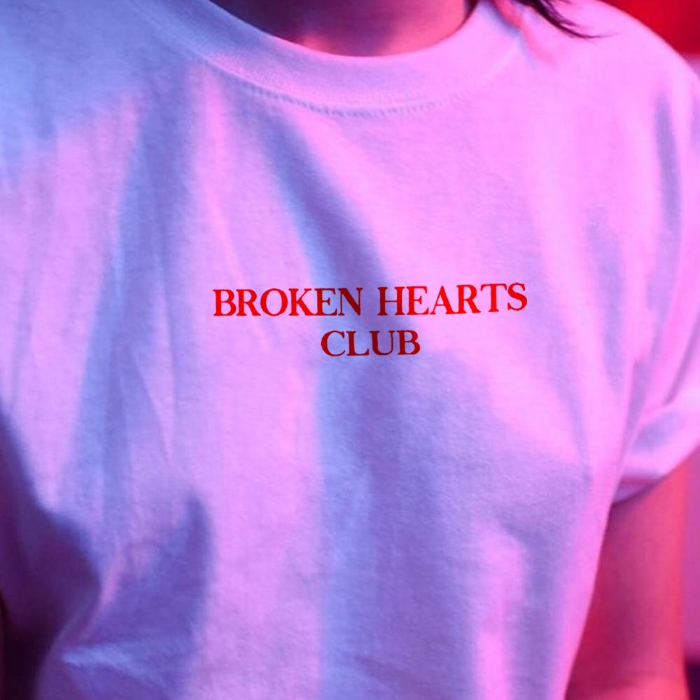 Broken Hearts Club Chic Fashion T Shirt Harajuku Women Short Sleeve Tumblr Grunge White Tee Hipster Tumblr Female Shirts