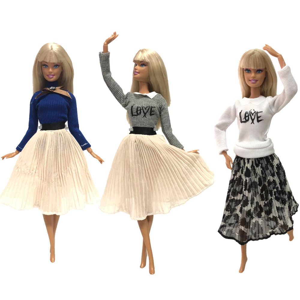 NK один комплект одежда куклы, платье модная юбка вечерние платья для куклы Барби аксессуары детские игрушки DIY для девочки Лучший подарок 033A JJ