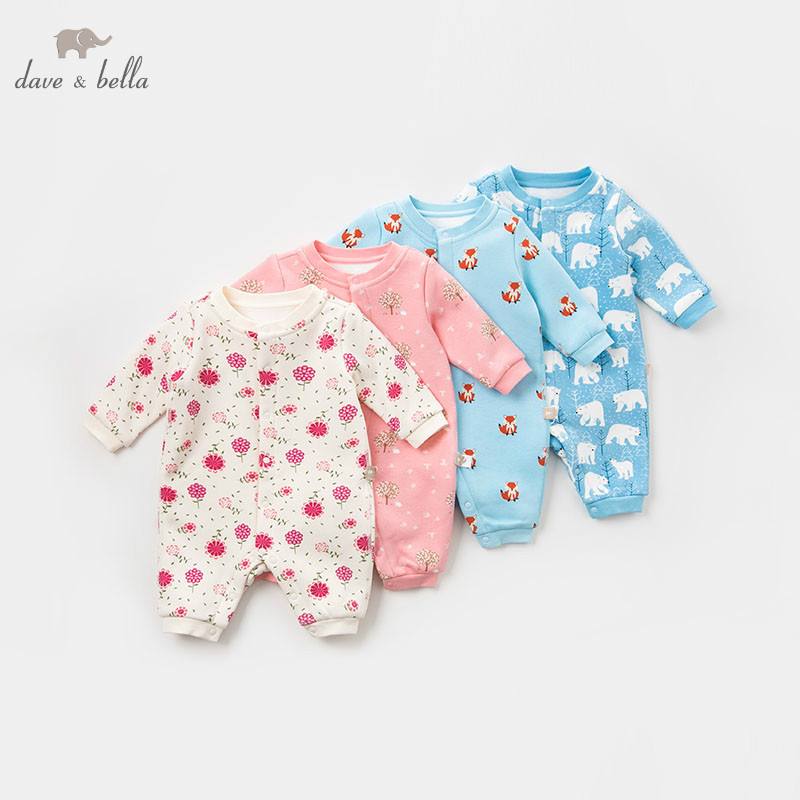 Rompers Db9307 Dave Bella Winter New Born Baby Print Long Sleeve Romper Infant Toddler Jumpsuit Children Boutique Romper 1 Piece