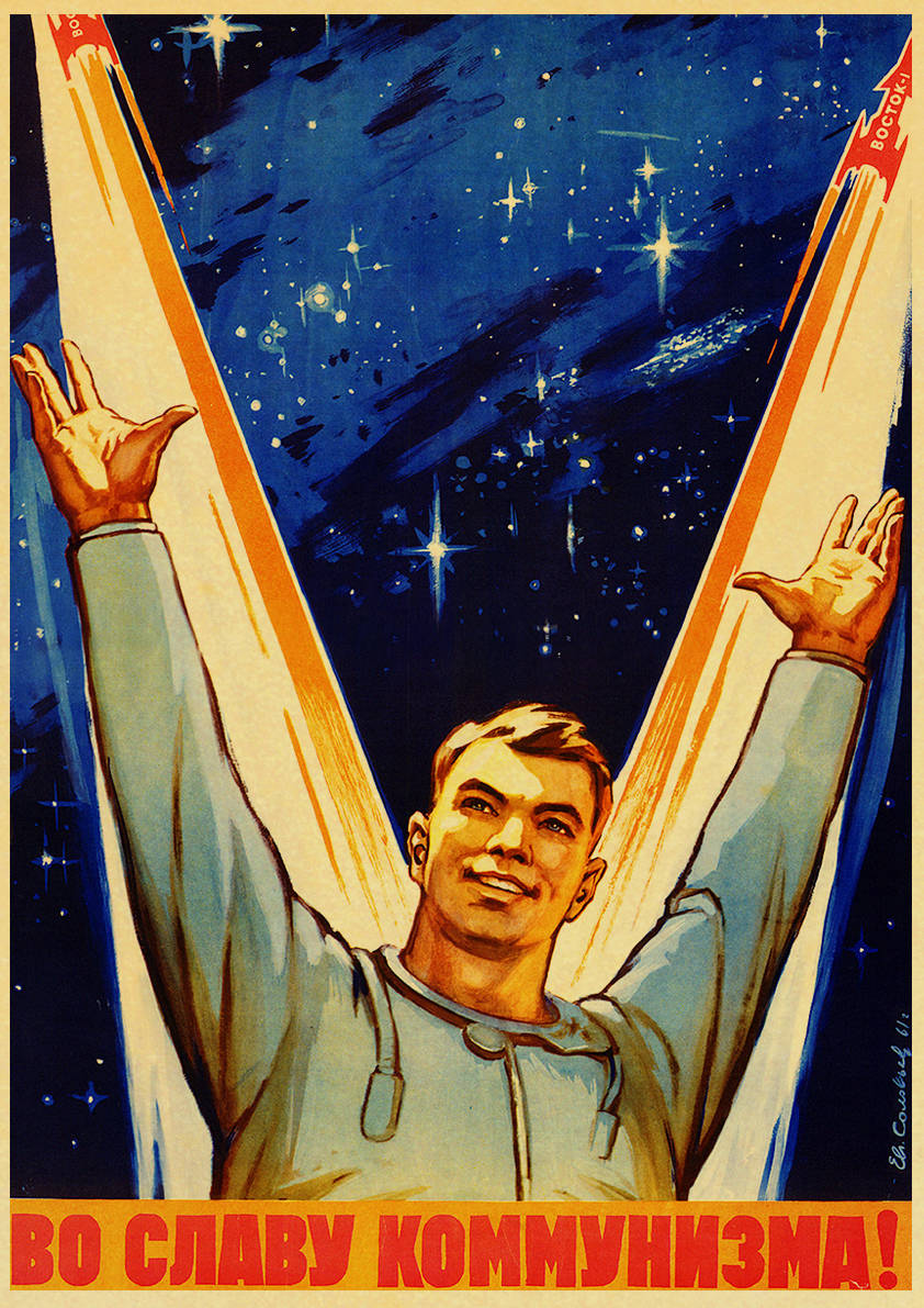 HTB1cSLieB1D3KVjSZFyq6zuFpXae Vintage Russian Propaganda Poster The Space Race Retro USSR CCCP Posters and Prints Kraft Paper Wall Art Home Room Decor