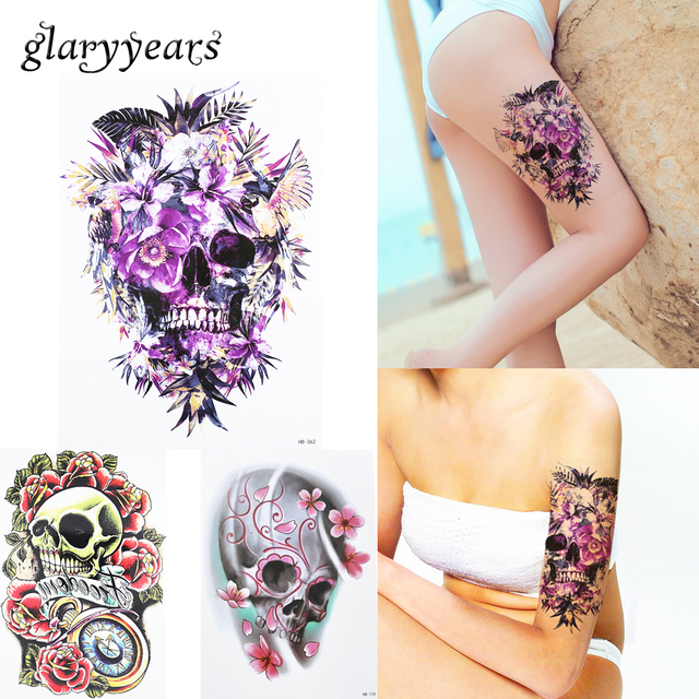 1 PC Waterproof Fake Temporary Tattoo Sticker HB362 Purple Flower Death Skull Body Shoulder Art Tattoo For Women Men