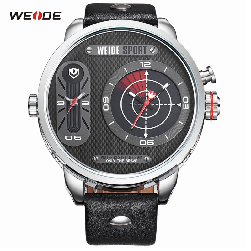 ФОТО WEIDE High Quality Quartz Watch Men Luxury Brand Leather Strap Stainless Steel Waterproof Sport Design Casual Wristwatches