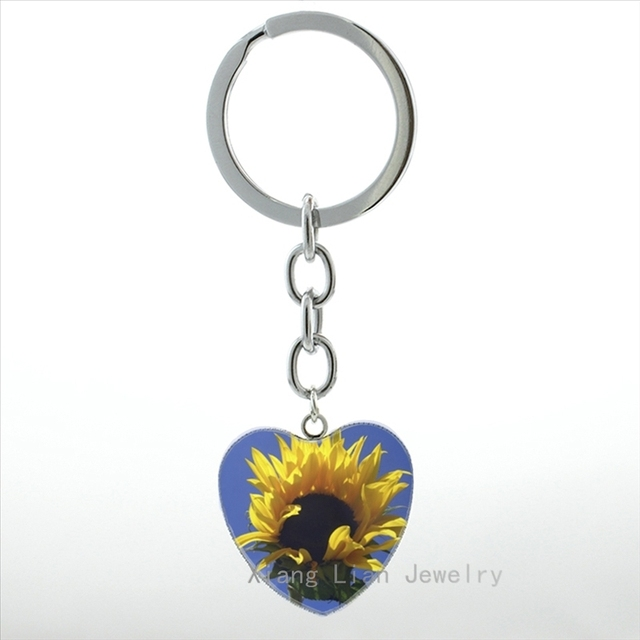 Bright color Sunflower heart pendant key chain ring charm golden flower women  keychain jewelry handmade best 74846a5cf