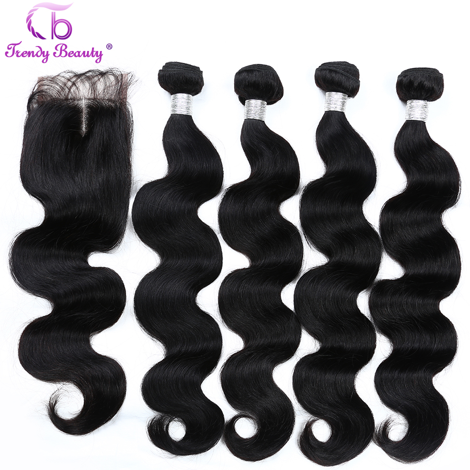 Trendy Beauty Brazilian body wave hair 4 bundles with 1 pcs closure Middle part 4x4 lace human hair extensions color #1b