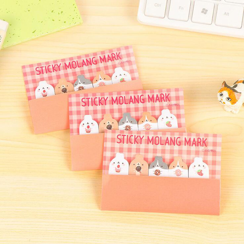 Z03 2X Cute Kawaii Molang Rabbit Bookmark Memo Pad Sticky Notes Paper Stickers Marker of Page Korean Stationery School Supplies