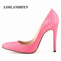 LOSLANDIFEN Snake Skin Pattern PU Material Classic Sexy Pointed Toe 11cm High Heels Women Pumps Dress