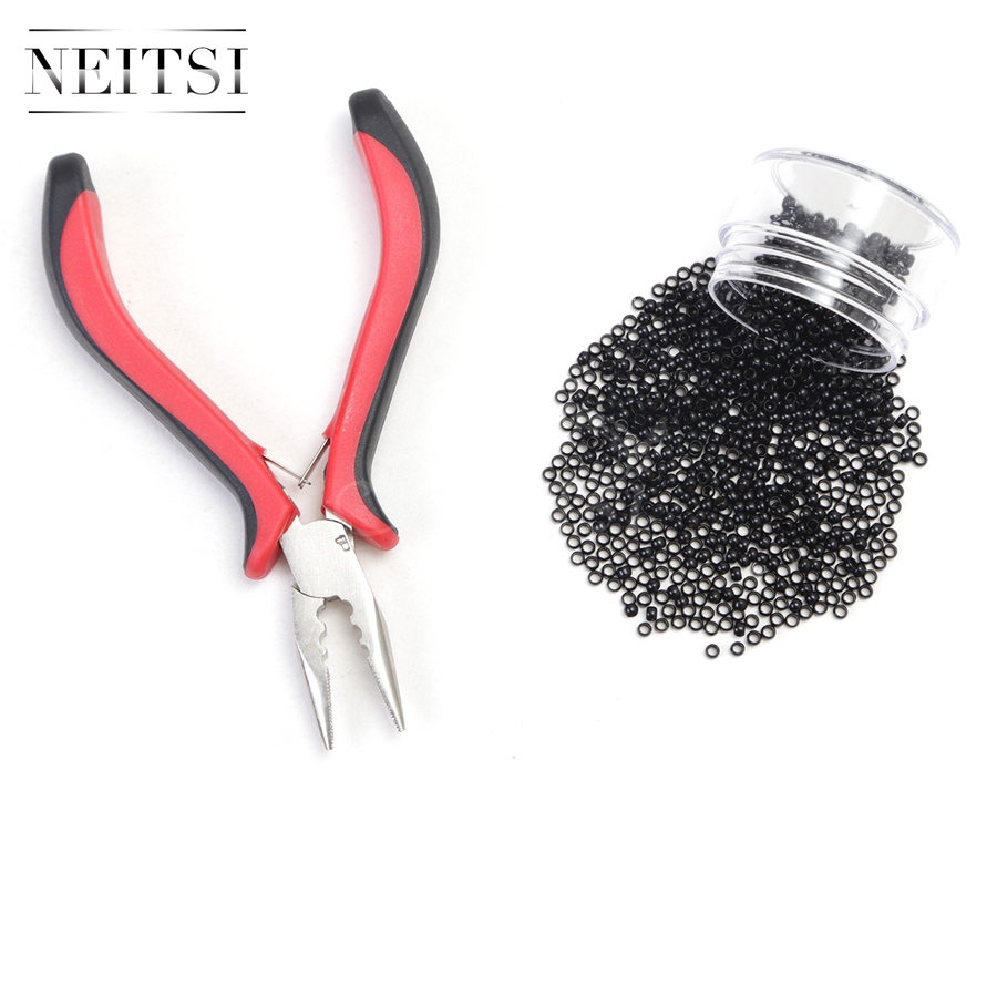 Neitsi 500 Beads Nano Rings With Plier for Links Hair Extensions ...