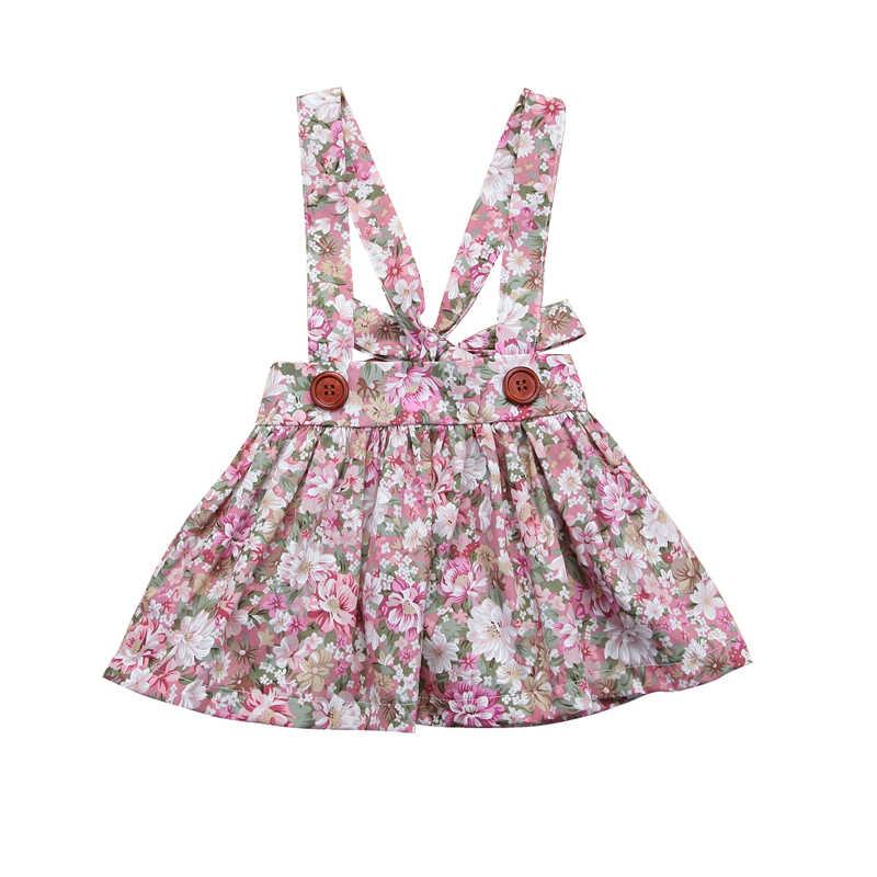 2018 חדש בנות שמלות קיץ אופנה לפעוטות ילדים בייבי בנות פרחוני הדפסה ללא שרוולים בגדי מסיבת סינר רצועת טוטו שמלת 0-4Y