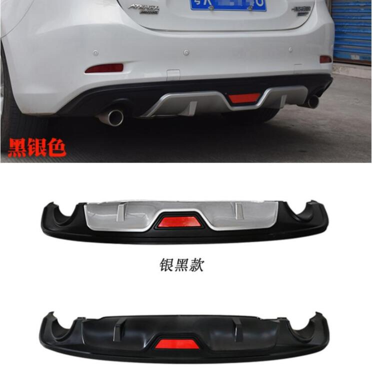 NEW ABS <font><b>REAR</b></font> TRUNK LIP SPOILER DIFFUSER EXHAUST <font><b>BUMPER</b></font> PROTECTOR <font><b>COVER</b></font> FOR 14-17 <font><b>MAZDA</b></font> <font><b>6</b></font> ATENZA M6 2014 2015 2016 2017 BY EMS image