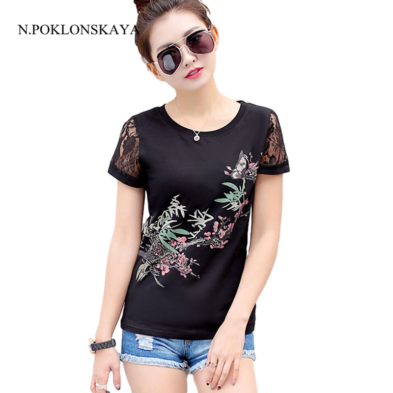 N.POKLONSKAYA 2017 Summer Plus Size Women T-Shirt Lace Short Sleeve Elegant Ladies Tops Tee Shirts female Tshirt 4XL Clothing