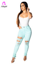 Adogirl distressed low waist skinny pencil pants button fly ripped women denim trousers macaron color casual bottoms