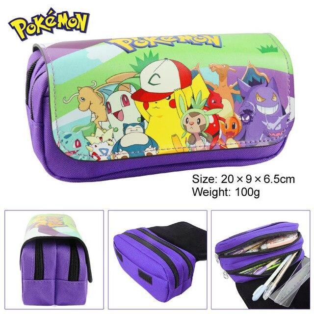 Pocket Monster pen Pocket Monster eevee cremallera doble bolsa de dibujos animados Pikachu Cartera Grande