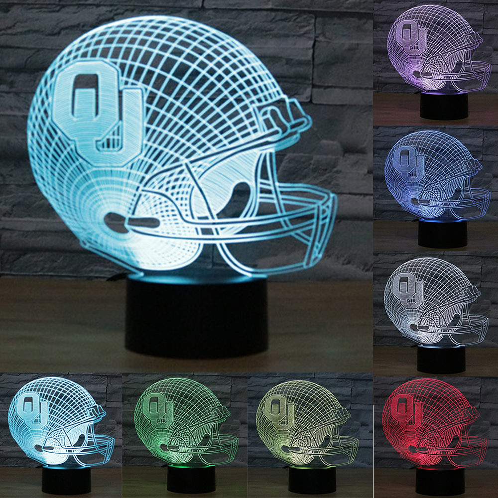 NFL Oklahoma Sooners Helmet LED Desk Lamp acrylic Touch Night Light 7 Colors Changing Light USB 3D Football Table lamps IY803684