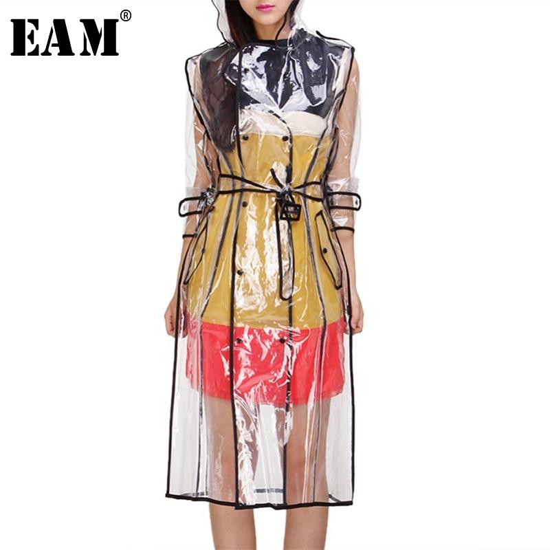 [EAM] 2020 New Women Transparent Fashion Tide Waterproof Raincoats Long Hooded Windbreaker Knee-length Outdoors Rainwear LA104