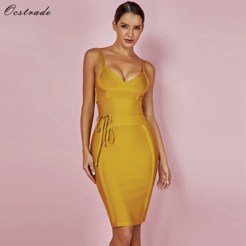 Ocstrade Women Bandage Dress 2018 Rayon Sleeveless Summer New Arrivals Sexy Deep v Neck Vestido Bodycon