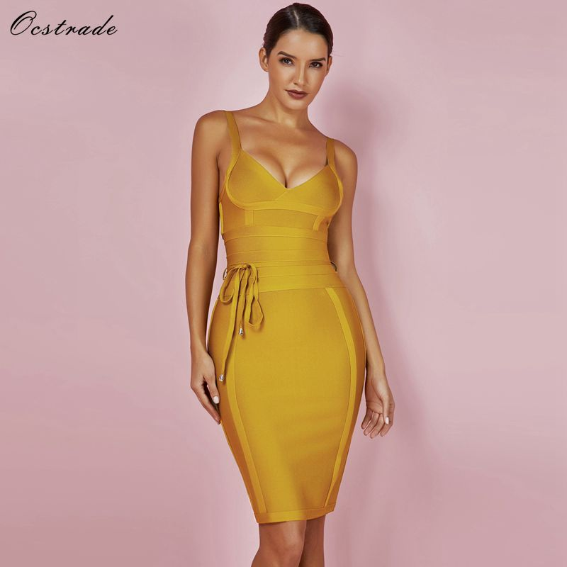 Ocstrade Bandage Dress 2017 Summer New Sexy Deep v Neck Ginger Tie Waist Wholesale