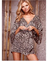Wholesale Women Clothing Sexy Lingeries Hot Sale Cheap Price Sleepwear Lounge Sets Soft Kimono Leopard Print Robe  SL3035