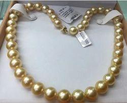 AAA 11-13mm echt natürliche runde südsee gold perlenkette 18
