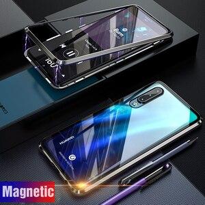 Магнитный металлический стеклянный чехол для Huawei P30 Lite, чехол P30Lite, магнитный бампер для телефона, стеклянная задняя крышка для Huawei P20 Lite, чех...