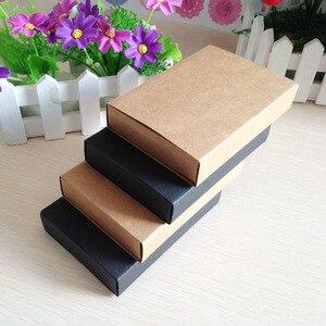 Image 4 - Caixa de presente preta de varejo 50 pçs/lote, embalagem de caixas de papelão para gaveta de papel de presente artesanato