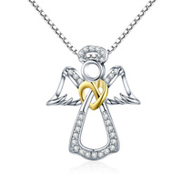 Hot Sale Authentic 925 Sterling Silver Guardian Angel Heart Pendant Necklaces Dazzling CZ Luxury Sterling Silver