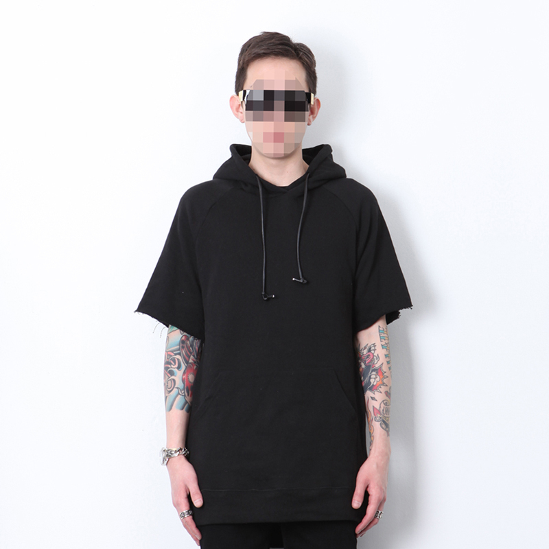 New Raw Edge Sleeve Side Zip Hooded Sweatshirt Hoodie Pullover ...