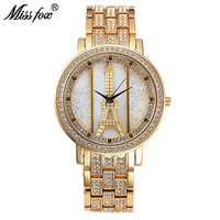 Miss Fox New Fashion Stainless Creative Woman Watch Quartz Wristwatch Gold High Quality Crystal Red Diamond Watches With Box