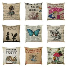Exquisite Pattern Flax Pillowcase Cushion Cover Sofa Home Car Decor Polyester Decorative Pillowcases Square 45*45cm Pillow Cover