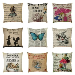 Image 1 - Exquisite Pattern Flax Pillowcase Cushion Cover Sofa Home Car Decor Polyester Decorative Pillowcases Square 45*45cm Pillow Cover