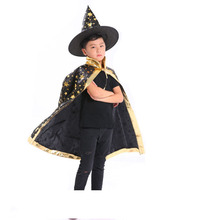 kids witch wizard cloak hat set stars pattern role play cape robe costume for boys girls