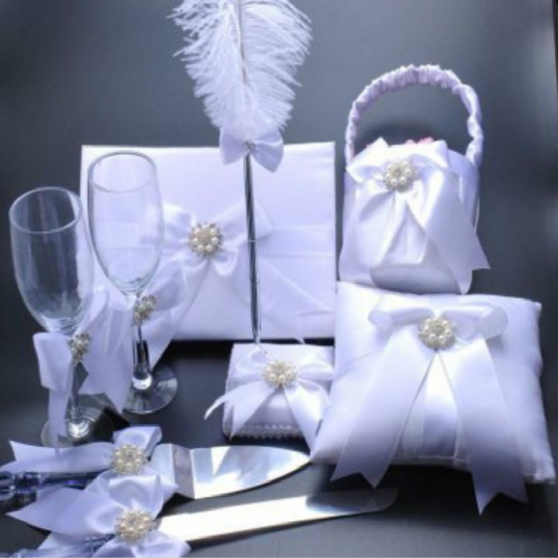European wedding Book Knife and Server Check the pen book set Flower basket cup knife and fork ring pillow